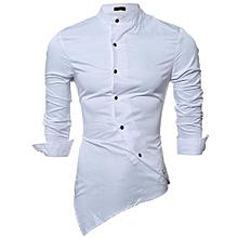 PODOM Men's Personality Slant Blanket Irregular Hem Long Sleeve Fashion Casual Shirts White