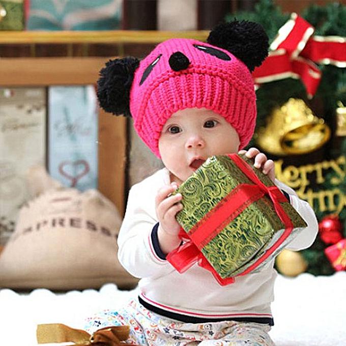 434f7f2cf07 Cute Baby Kids Girls Boys Stretchy Warm Winter Panda Cap Hat Beanie HP-Hot  Pink