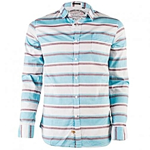 Blue And White Long Sleeved Striped Shirt.