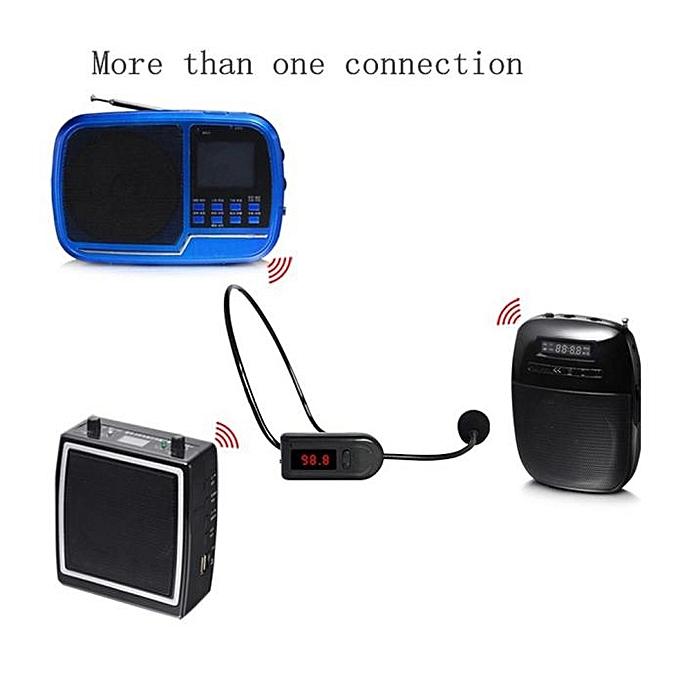 Radio FM Wireless Headset Microphone Handsfree Megaphone Mic for Speaker - Black .