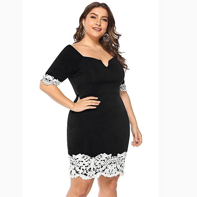 0460aaec3d7 Fashion Women Plus Size Casual Dress Lace Splice V-neck Short Sleeve ...