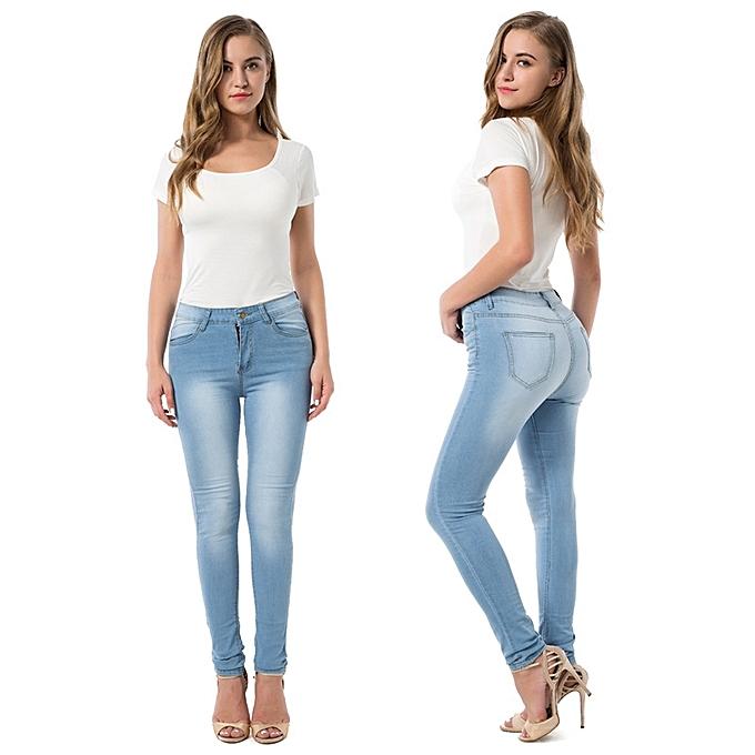 21c8cb6f High Elastic Denim Trousers Female Casual Pocket Skinny Pencil Jean Pants  Jeans Women Trousers-light blue