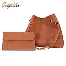 Guapabien 2pcs Women Solid Color PU Leather Shoulder Tote Bag Handbag Clutch