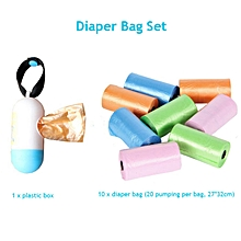 Hot 10 Rolls/lot = 200 Pcs Garbage Bags with Box Travel Nappy Bags Baby Diaper Nappy Disposable One-time Use Rubbish Bag