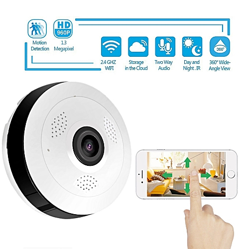 360 Degree Panoramic Wide Angle MINI Cctv Camera V380 Smart IP Camera  Wireless Fisheye Lens 1080P Security Home Wifi IP Camera(960P)