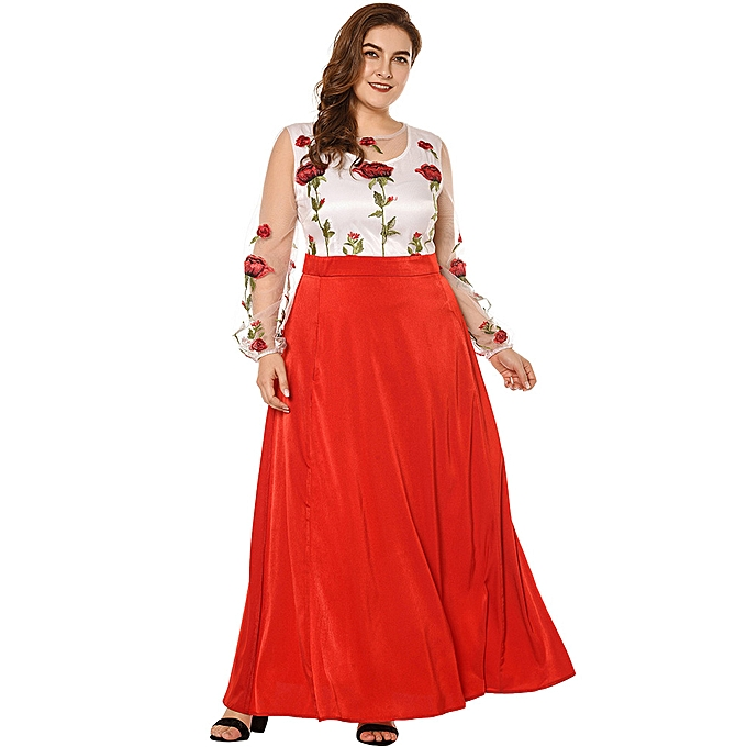 578ac04a86620e Fashion New Sexy Women Plus Size Maxi Dress Floral Embroidery Sheer Mesh  Splice Long Sleeve Slim Elegant Long Dress Red Black