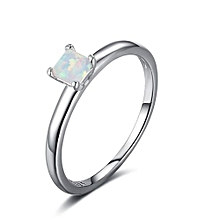 Simple Created Opal Four Claws 925 Silver Ring Ring Size US 8