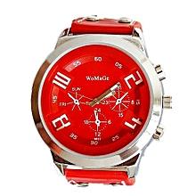 Blicool Wrist Watch Fashion Unisex Leather Band Analog Quartz Vogue Wrist Watch Watches RD-red