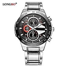80131 Military Man Stainless Steel Watch Casual Sport Quartz Wristwatches Fashion Mens Watches - Black
