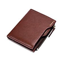 Antimagnetic Men Wallet Anti RFID Male Zipper Purse Short PU Leather Wallet brown