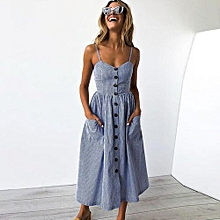 New Summer Women's Floral Print Sleeveless Shoulder-Straps Buttoned Backless Sexy Dress With 20 Colors Optional (Blue)