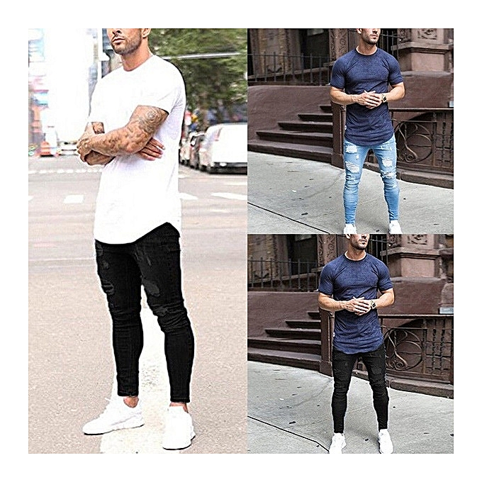 fdb5ac5cf98 ... Great Men s skinny jeans washed men s tight knee hole pants thin jeans  for ...