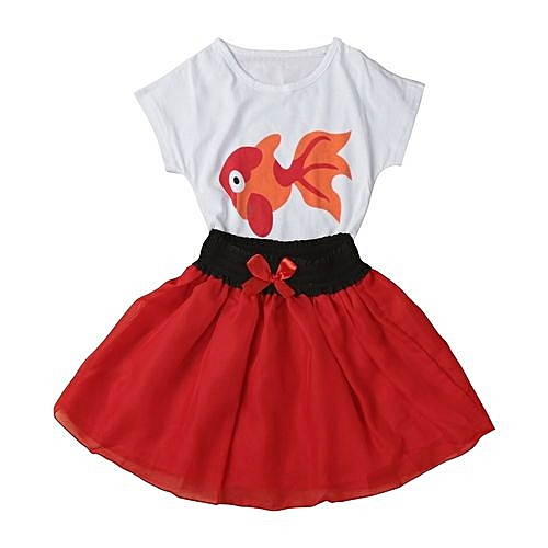 c4d0a7260ffcc Toddler Kid Baby Girls Small Goldfish Shirt+Skirt Clothes Outfit 2PCS Set 80