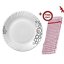 Misty Drop Glass Dinner Plates, Set of 6 (+ Free Gift Hand Towel)