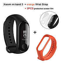 Mi band 3 OLED Heart Rate Monitor Bluetooth 4.2 Smart Bracelet+Orange replacement band and 2 free screen protector