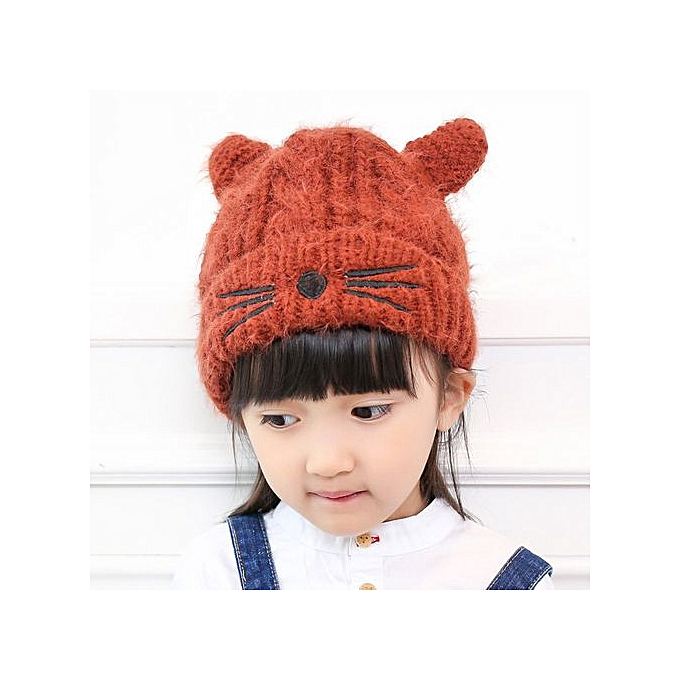 04a548b186a Braveayong Cute Baby Toddler Kid Elasticity Cat Pattern Beanie Knitted  Winter Warm Hat Cap - Coffee