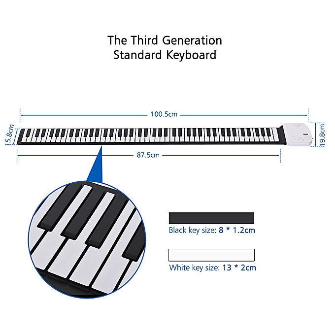 Portable 88 Keys Roll Up Piano Flexible Soft Silicone Electronic Piano  Keyboard Built-in Loud Speaker Recharge Battery Standard Piano Tone for