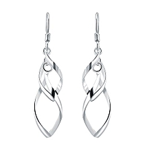 Hot Sale Elegant Curve 18K White Solid 925 Sterling Silver Hanging Earrings