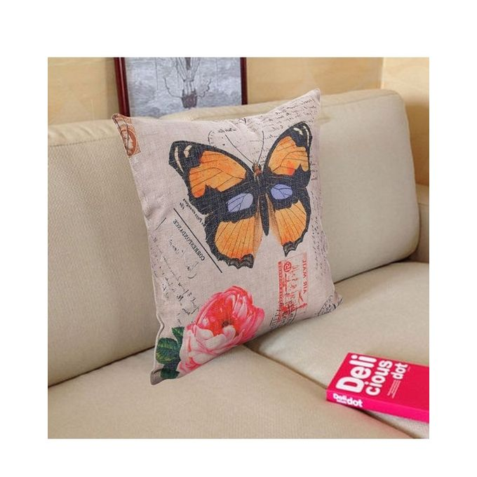 Throw Pillow Jumia : Ovonni Q157 - Butterflies and Flowers-1 18 Inch Square Linen/Cotton Throw Pillow Buy online ...