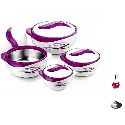 Set of 4 Parisa Thermo Dish Hot or Cold Casserole Serving Bowls with Lids Purple + FREE serving Ladle