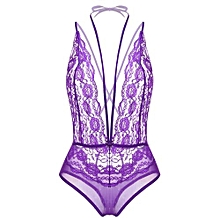 Women Sexy Lingerie Halter Deep V-Neck Lace One Piece Bodysuit Nightwear