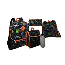 5 Piece Kids Back to School Bag Set Medium (14 Inch Backpack,Lunch Bag,Pencil Case,Drawstring Bag,Water Bottle) - Black & Orange