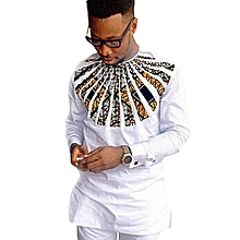 White Long Sleeved African Print Casual Men's Shirt