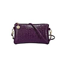 Alligator Pattern Crossbody Bag - purple