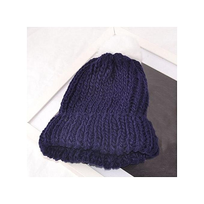 Fashion Women Winter Hats Knit Warm Beanie Hat Knitted Wool Hemming Hat NY 2d9479cb7a2