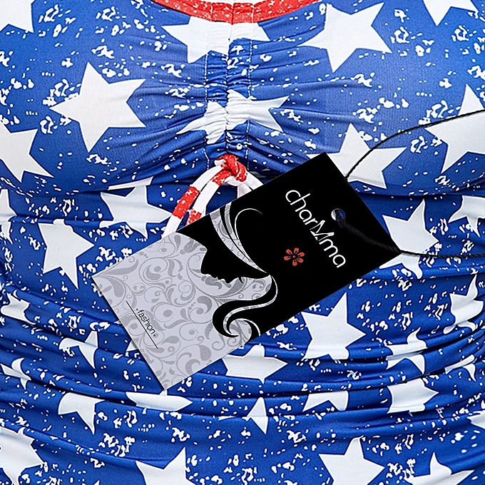 9bef79c5b0435 ... Fashion Leadsmart Patriotic American Flag Print Plus Size Blouson  Tankini