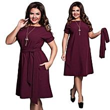 Refined Elevated Size Dress Fashion Short Sleeve With A Large Belt Dress Elegant Mid-length Dress Women Plus Size Dress - Wine Red