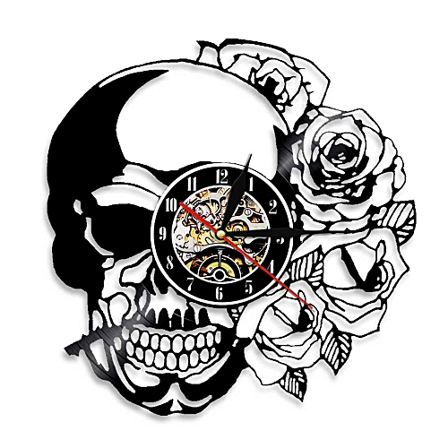 Generic Skull With Art Vinyl Record Wall Clock Vintage Decorate Home