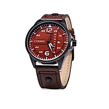 Brown Quartz Leather Strap Mens' Wrist Watch