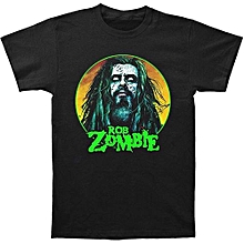 Zombie Ghost Terror Skeleton Rob Zombie Face Men's Black T-Shirt Funny Cool Fashion Printed Men's T-Shirt