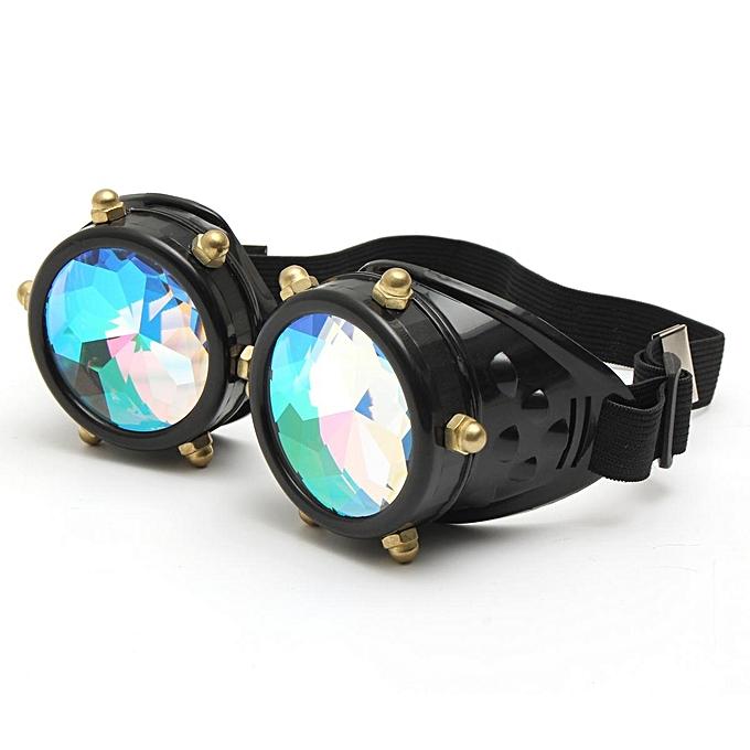 87dfa154f3 Festivals Kaleidoscope Glasses Vintage Rainbow Crystal Windproof Sunglasses  Gift -Black