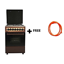 Free Standing Cooker, 3 Gas Burners, 1 RAPID Hot Plate, Electric Oven - MST60PU31DB/HC, With free Gas Pipe -  Dark Brown