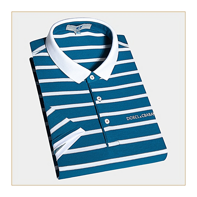 f0e1d52d93b1 Fashion Men Leisure Short Sleeved POLO Fashion Classic Striped Tee ...