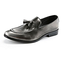 Retro Formal Shoes Men Slip On Moccassin Genuine Leather Casual Shoes (Silver)
