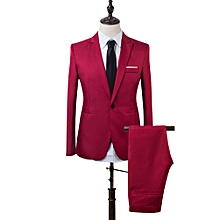 Men Business One Button Formal Two-Piece Suit-Wine Red - Wine Red - M