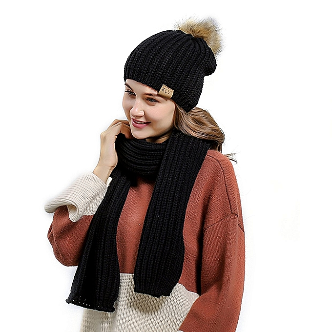 3f0a3da4b8e TB Women Wool Slouchy Knitted Beanie Winter Warm Hat Scarf Set Fur Pompoms  black