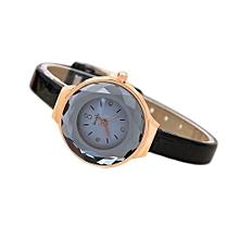 Lady  Leather Wrist Watch MCYKCY Women Fine Leather Band Winding Analog Quartz Movement Wrist Watch-Black