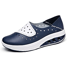 4cm Height Increasing Moccassins Women Genuine Leather Platform Shoes Lady Casual Wedges Shoes (Blue)