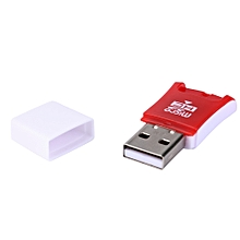 jiuhap store High Speed Mini USB 2.0 Micro SD TF T-Flash Memory Card Reader Adapter-Red