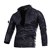 Men Leather Jacket Autumn&Winter Biker Motorcycle Zipper Outwear  Warm Coat- Navy