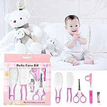 6pcs Convenient Daily Baby Nail Clipper Scissors Hair Brush Comb Manicure Care Kit Pink