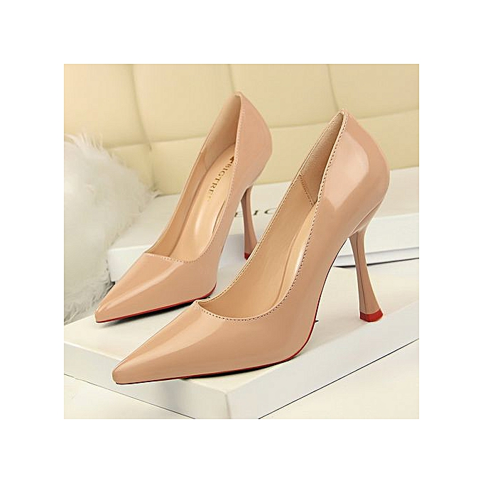 6c9cab856f6 2019 New Fashion Patent Leather High-Heeled Shoes Pointed Toe Woman Pumps  Stiletto High Heels Closed Toe Party Women Shoes Ladies Shoes
