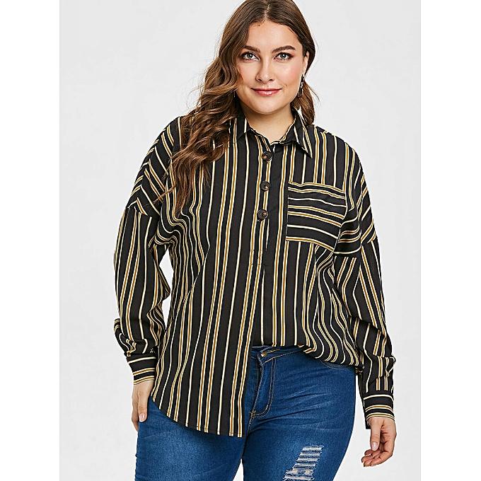 44f299c1 Plus Size Chest Pocket Striped Blouse,Black
