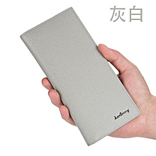 Men's wallet Korean version of the long ultra-thin soft leather casual business wallet multi-card position-gray