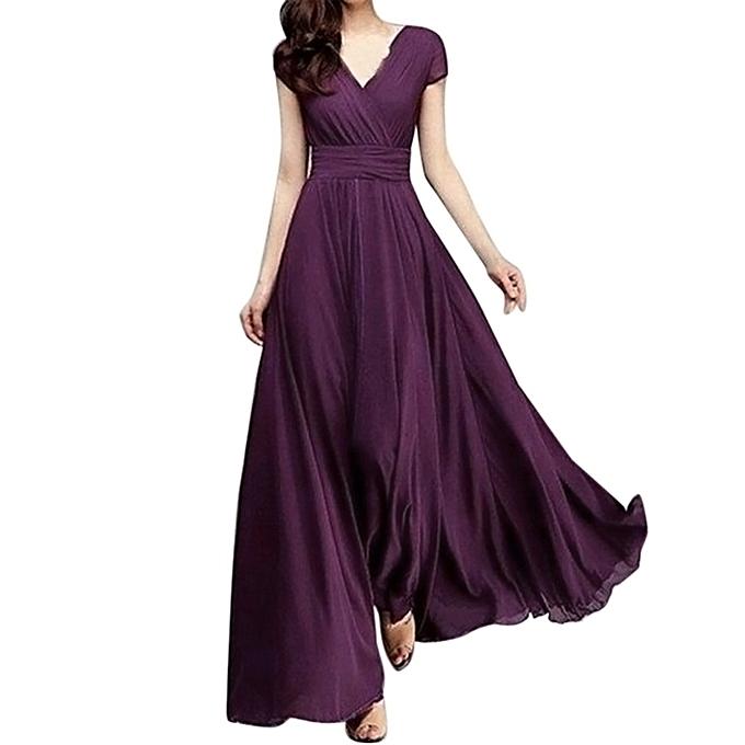 3b286f2e4d5a ... Xiuxingzi Fashion Women Casual Solid Chiffon V-Neck Evening Party Long  Dress ...