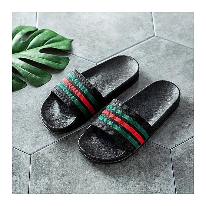 572246f6e New Men Summer Slippers Outdoor Slides Stripe Design Beach Sandals Flip Flop  Slip On Fashion Slippers